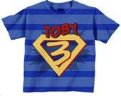 Superhero Birthday Shirt, Personalized Boys Super Hero Number T-Shirt, Costume with Cape,
