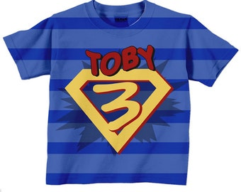 Superhero Birthday Shirt, Personalized Boys Super Hero Number T-Shirt, Costume with Cape,
