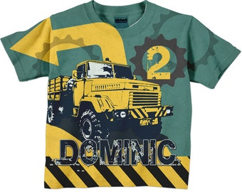 Dump Truck Birthday Shirt, Personalized Boys Construction Number T-Shirt
