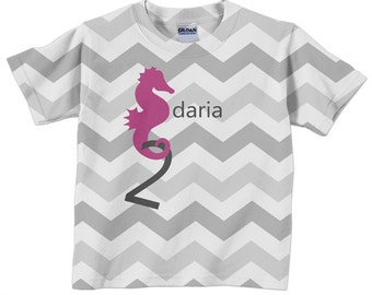Seahorse Shirt, Personalized Girls Chevron Birthday Tshirt