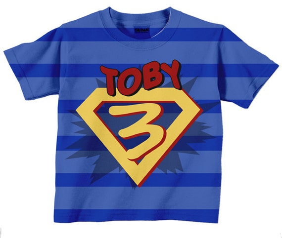 Superhero birthday shirt personalized boys super hero number Boys superhero t shirts