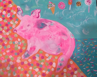 This little piggy ate too much ice cream!  original painting 12'' X 12''
