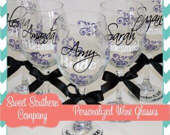 7 Monogrammed Bride and Bridesmaids Wine Glasses