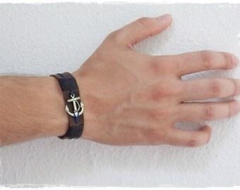 Nautical Anchor Bracelet, Leather Cuff Bracelet, Nautical Leather Bracelet, Anchor Chram Bracelet, Nautical Wedding Bracelet For The Groom