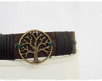 Tree Of Life Bracelet, Men's Leather Bracelet Cuff, Pagan Bracelet, Celtic Leather Bracelet, Forest Tree Bracelet, Elven Nordic Leather Cuff