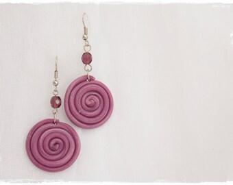 Polymer Clay Earrings, Long Swirl Earrings, Cosmic Purple Earrings, Boho Dangle Earrings, Geometric Jewelry, Swirls Raspberry Red Earrings