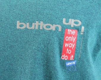 Vintage 90s 1992 Levi's Button Fly T Shirt Screen Tee Short Sleeves Turquoise Shirt Cotton Poly Crew Neck 1990s Mens Summer Fashion L