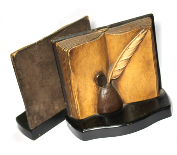Open book Bookends- Syroco Wood, great teacher gift