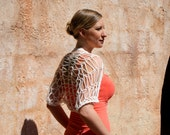 Pandora- Cream Ivory Off White Drapey See Through Spring Bridesmaid Lacey Knit Shrug by Eva Bella