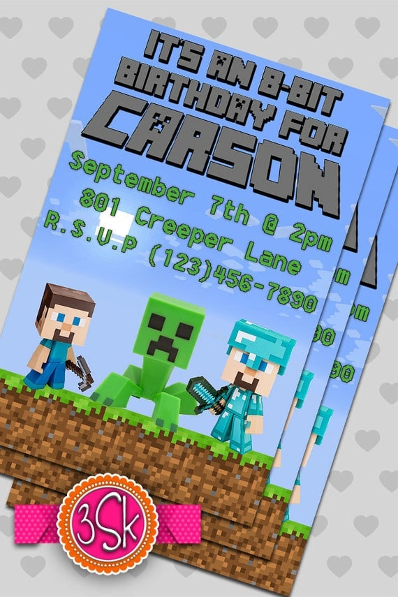 Minecraft Invitation Card with best invitations ideas