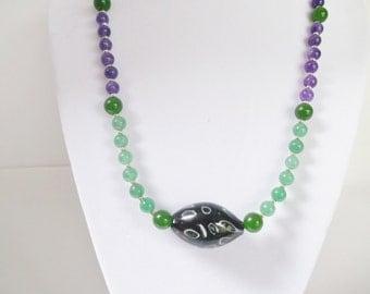 Handmade Jewelry, Beaded Necklace, Aventurine Necklace, Purple Green Necklace, Amethyst Beaded Necklace, Purple Pendant Necklace, Beadwork