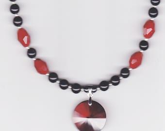 Handmade Jewelry, Beaded Necklace, Valentine Jewelry, Sweetheart necklace, Sweetheart Ruby Faceted & Jasper Beaded Necklace, Beadwork