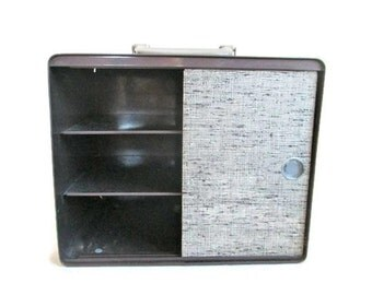 Metal Storage Case Vintage Box Organization Retro Office Accessory Desk