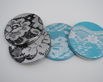 Concrete Coasters- Lace Series, Wedding Gift, Housewarming Gift, Functional Art, Gift under 50