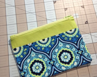 Small Zipper Pouch - Blue & Green
