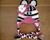 Zebra Hat- Newborn to Adult- Choose Trim and Flower Colors