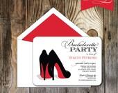 Red Shoe Bachelorette Invitation
