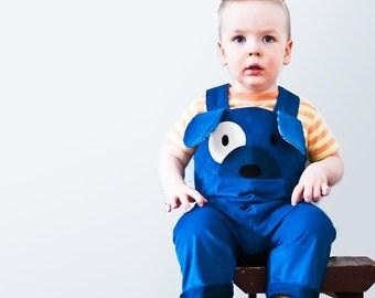 boys dress up dog, overalls, costume,blue