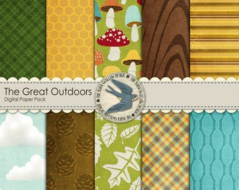 """Digital Scrapbook Paper Pack Instant Download - The Great Outdoors -10 12"""" x 12"""" Papers for camping, outdoors, hunting scrapbooks, cards"""