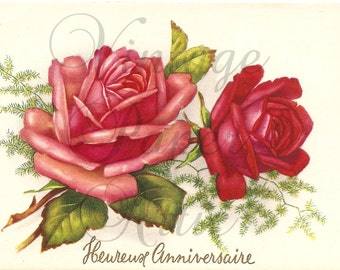 French Vintage Postcard Red & Pink Roses Post Card from Vintage Paper Attic