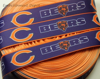 "10 YARDS-7/8"" Chicago Bears Grosgrain Ribbon-10 YARDS"