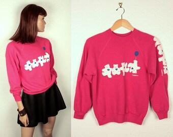 25% OFF SALE // 1980s teddy bear sweatshirt // puff print
