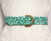 1970s Floral Belt / Green Floral Belt / Gold Chain Buckle Belt / Medium