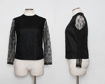 1950s Black Lace Top / Vintage 50s Illusion Top / Medium Large
