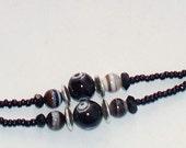"Handmade 39"" BLACK and Tan  Beaded Badge ID  LANYARD  Art Glass Beads Silver Accent Beads Durable Handy"