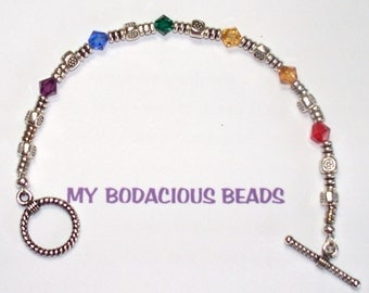 "Handmade 7.25"" RAINBOW  BRACELET Swarovski CRYSTAL and Sterling Silver Accents Toggle Clasp"