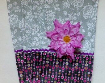 Gray Roses with Purple Accent Dish Towel Set of 2