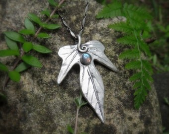 Woodland Leaf Necklace With Labradorite - Made With a Real Leaf - Silvan Leaf - Artisan Handcrafted with Recycled Silver - Elven - Forest