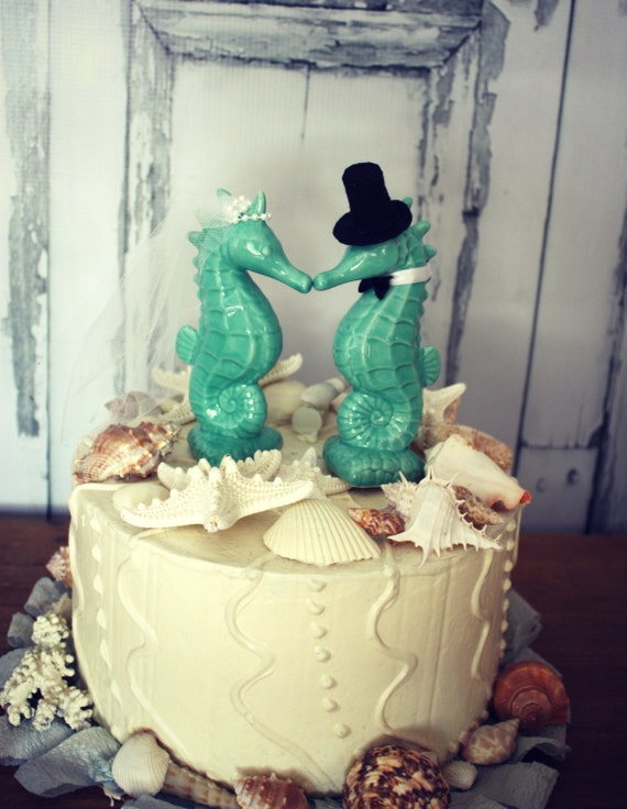 Seahorse Wedding Cake Topper Aqua Blue Seahorse Cake