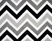 Black & Silver Chevron Minky From Shannon Fabrics - Choose Your Cut