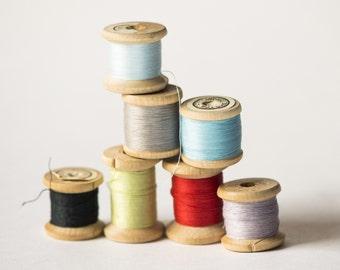 Vintage thread spools, Soviet spools colorful set of 7 thread wooden spools