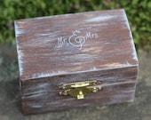 Wedding Ring Pillow Box, Wedding Ring Bearer Box, Personalized Mr. & Mrs. Burlap Pillow or Moss
