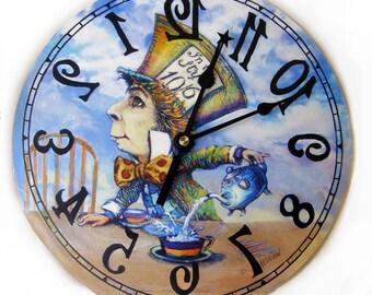 Mad Hatter clock backwards, Alice in Wonderland decor