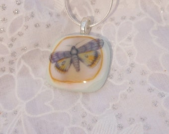 Butterfly Pendant, Fused Glass Necklace Pendant, Butterfly fused glass pendant