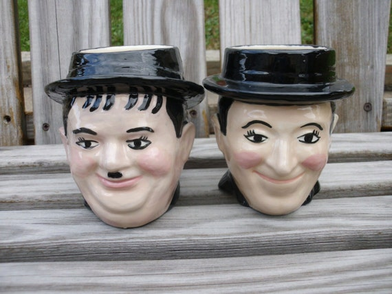 Vintage Laurel and Hardy Toby Mugs