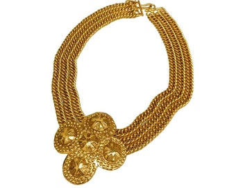 CHANEL Vintage Gold Triple Chain Medallion Necklace