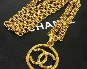 CHANEL, vintage, cc, coco, logo, runway, gold, necklace, costume, necklaces, jewelry at HauteDecades on Etsy