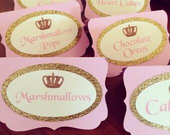 Princess place cards, princess label cards, princess food tent cards, princess party