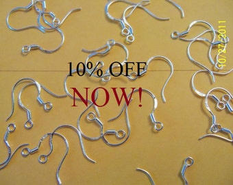 500 (250 pairs) .925 STERLING SILVER ear wires ear hooks 10% Off NOW!