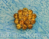 Rhinestone Buttons -Charlotte- (26mm) RS-011 in Light Topaz - 5 piece set