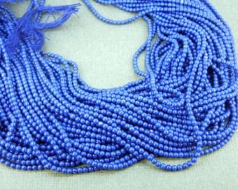 Lapis Lazuli Beads - Tiny 3mm Round Lapis Lazuli Beads-- 1 Full STRAND (BB-84)