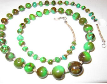 Lime Green Turquoise and Heshi beaded Necklace