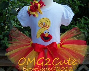 Elmo Birthday outfit- with shirt and hairbow and tutu.-PERSONALIZED