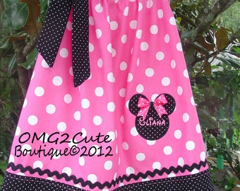 Minnie Mouse Pillow Case Dress or Shirt-PINK-  2 tie options- with FREE Name