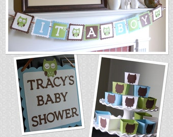 Owl Baby Shower Package, Owl Decorations, It's A Boy Banner, Welcome Sign, Owl Candy Cups, Owl Shower