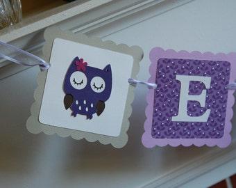 Owl Banner, Owl Baby Shower, Owl Name Banner, Owl Birthday, Owl Nursery, Purple and Greys